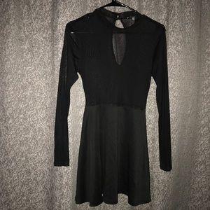 Black mesh skater dress